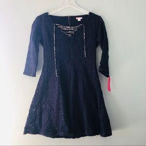 🌸Xhilaration | full lace navy midi lace up dress